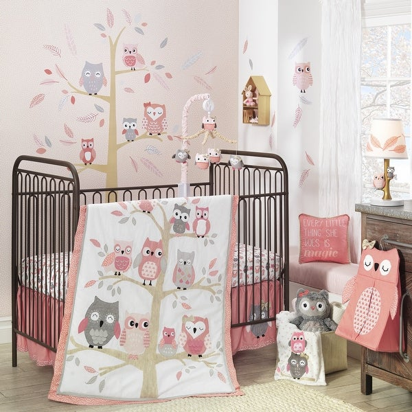 Lambs & Ivy Family Tree Pink/Gray Owl 6-Piece Nursery Baby Crib Bedding Set. Opens flyout.