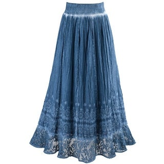 Women's Peasant Skirt - Indigo Blue Pigment Washed Crochet Hem Elastic Waist