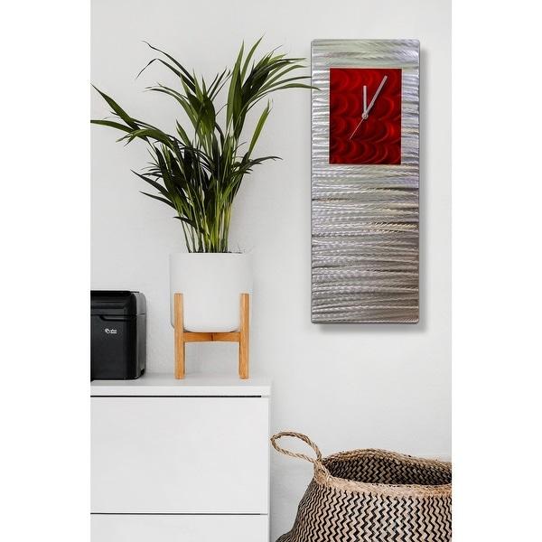 "Statements2000 Modern Metal Wall Clock Art Abstract Decor by Jon Allen - Radiance Clock - 24"" x 9"". Opens flyout."