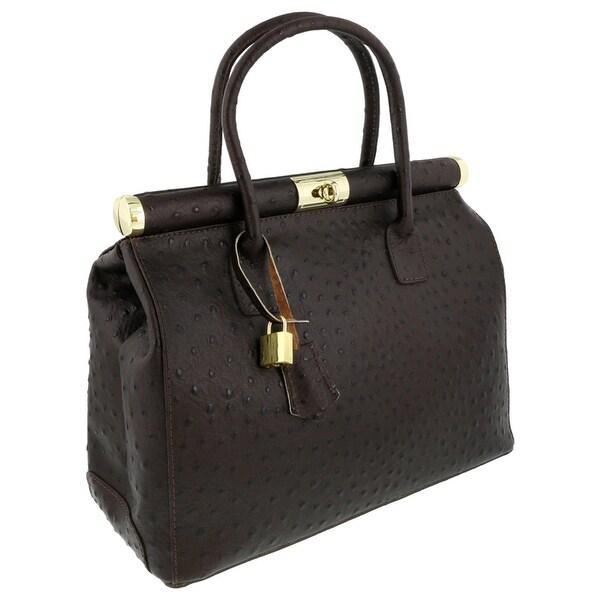 HS Collection HS8005 SMR MINERVA Dark Brown Satchel/Shoulder Bag - Dark Brown - 14-11-7