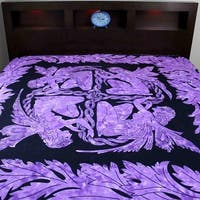 Handmade Cotton Faerie Braid Celtic Tapestry Tablecloth Coverlet Twin 60 x 90 & Full 90 x 99 inches Blue & Purple