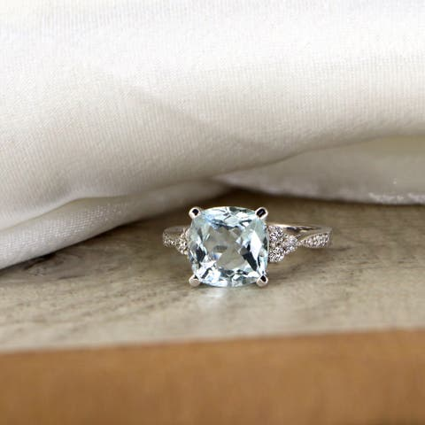 Auriya 3 1/8ct Fancy Cushion Aquamarine and Diamond Engagement Ring 1/4ctw 14k Gold