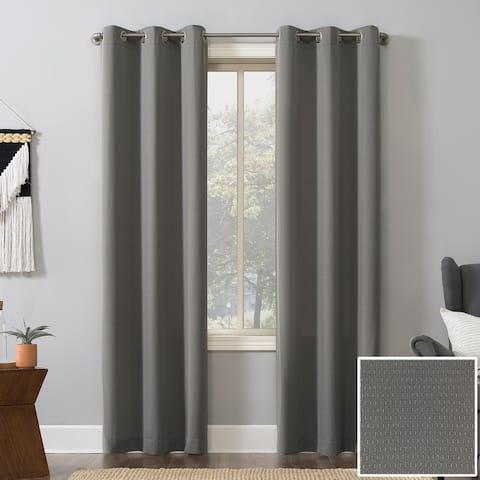 No. 918 Raymer Woven Geometric Room Darkening Grommet Curtain Panel, Single Panel