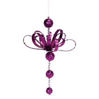 """Set of 12 Purple Glitter Party Hanging Ornament 15"""""""