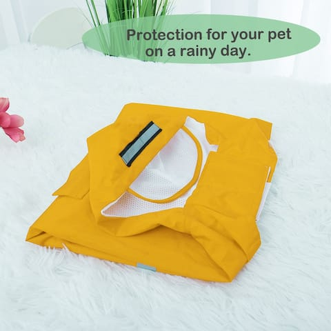 Pet Dog Raincoat Dog Rain Jackets Poncho Clothes Polyester Puppy Water-resistant with Hat Rainwears Red 4XL