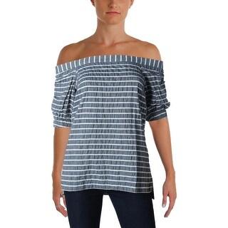 Lauren Ralph Lauren Womens Vorence Pullover Top Striped Off-the-Shoulder