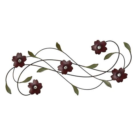 "Brewster U1826 Fetco Adira 29-3/4"" x 12-1/4"" Flower and Vine Metal Wall Sculpture -"