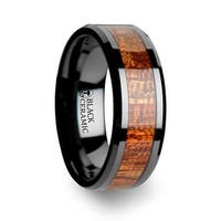 GABON Black Ceramic Band with Polished Bevels and Exotic Mahogany Hard Wood Inlay 8mm