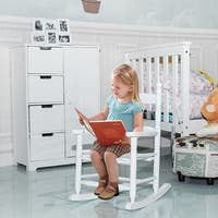 Costway Classic White Wooden Children Kids Rocking Chair Slat Back Furniture