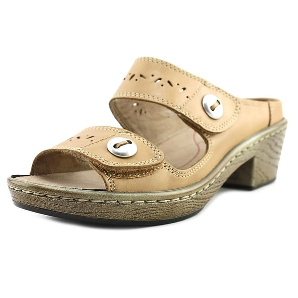 Klogs Journey Women Open Toe Leather Tan Slides Sandal