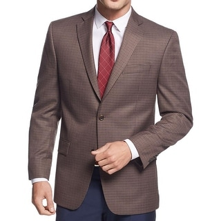 MICHAEL Michael Kors Mens Two-Button Blazer Checkered Notch Collar