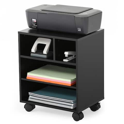 FITUEYES Mobile Printer Stand with Storage Adjustable Work Cart