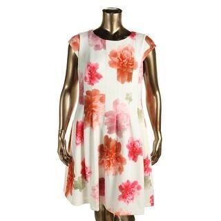 Calvin Klein Womens Scuba Dress Matte Jersey Floral Print