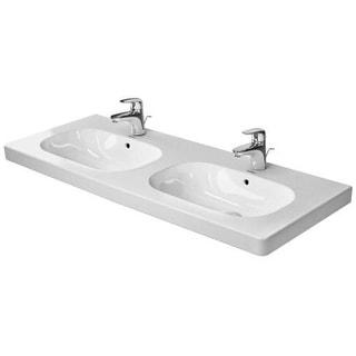 "Duravit 0348120030 D-Code Ceramic 47-1/4"" Double Basin Bathroom Sink for Vanity,"
