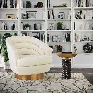Link to Canyon Cream Velvet Swivel Chair Similar Items in Accent Chairs