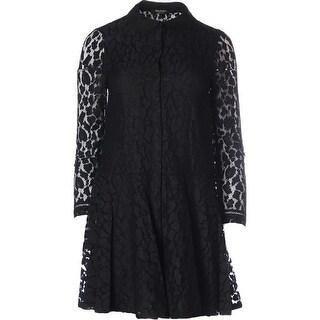 Juicy Couture Black Label Womens Bi Colored Leopard Lace Cocktail Shirtdress - 10