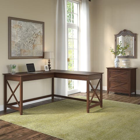 The Gray Barn Hatfield 60-inch -L-desk with 2-drawer File Cabinet
