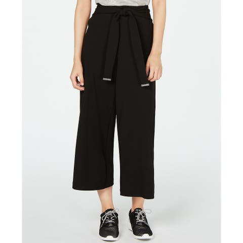 Michael Kors Women's Wide-Leg Cropped Pants Black Size Extra Large - X-Large