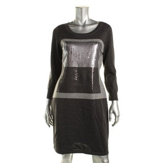 Calvin Klein Womens Sequined Colorblock Sweaterdress