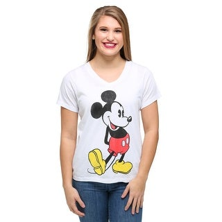 Womens Mickey Mouse Classic Pose Burnout V-Neck T-Shirt