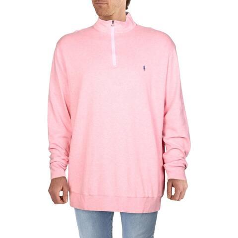 Polo Ralph Lauren Mens Big & Tall Logo Sweatshirt 1/4 Zip Long Sleeve - Pink Heather - 2LT
