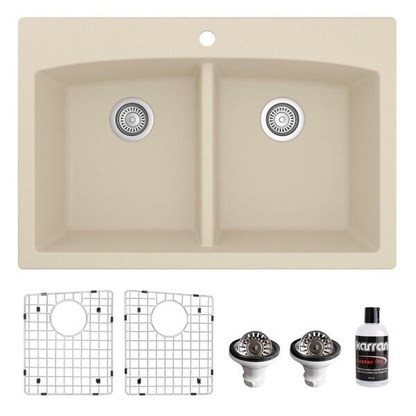 Karran Drop-in Quartz 33 in. Double Bowl 50/50 Kitchen Sink Kit. Opens flyout.