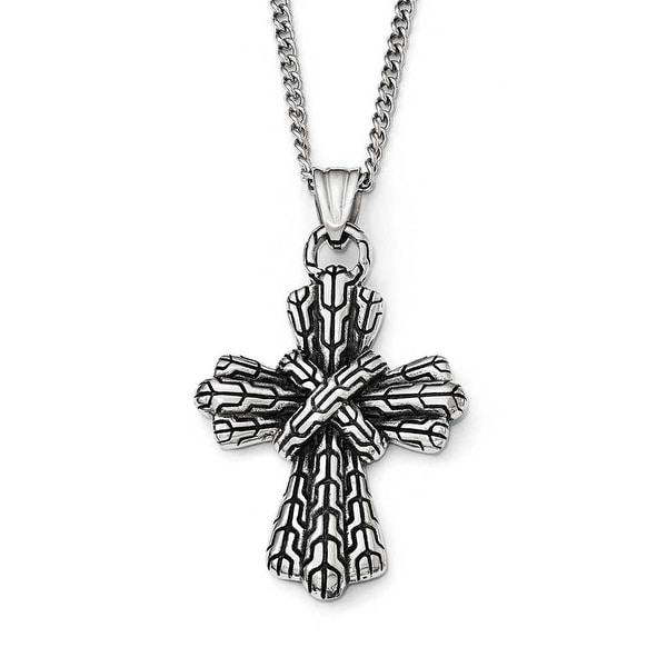 Chisel Stainless Steel Antique Cross Necklace - 24 in