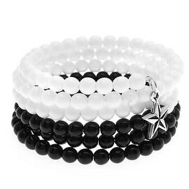 Star Charm Memory Wire Bracelet (Blk/White) - Exclusive Beadaholique Jewelry Kit