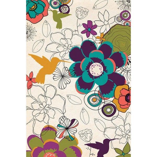 Hummingbirds & Flowers Pattern - LP Artwork (100% Cotton Towel Absorbent)