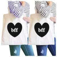 Bff Hearts Natural BFF Matching Canvas Shoulder Bag For Best Friend