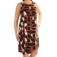 Womens Brown Printed Sleeveless Knee Length Shift Dress  Size:  12