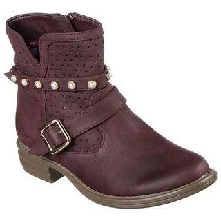 Skechers Girls' Mad Dash Sunshine Daisy Ankle Boot Burgundy