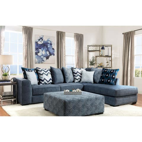 Furniture of America Sharnel Transitional Blue Solid Wood Sectional Sofas