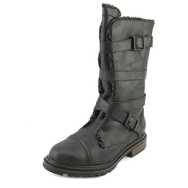Rocket Dog Lance Women Synthetic Black Motorcycle Boot