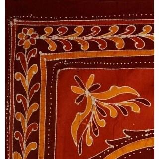 Handmade 100% Cotton Batik Elephant Bedspread Tapestry Tablecloth Twin Red Full