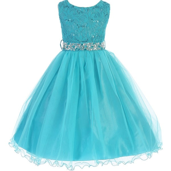 b1982151d0421 Shop Flower Girl Dress Glitter Sequin Top & Rhinestone Sash Teal JK 3670 - Free  Shipping Today - Overstock - 16743308