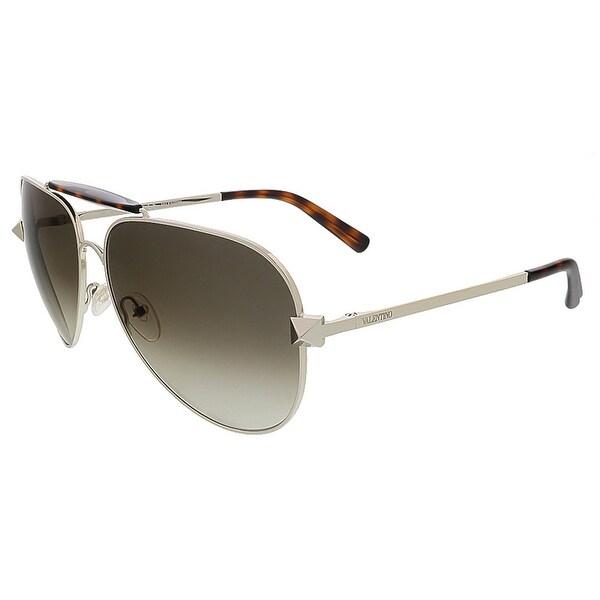 Valentino V115S 709 Light Gold/Dark Havana Aviator Valentino Sunglasses - light gold/dark havana