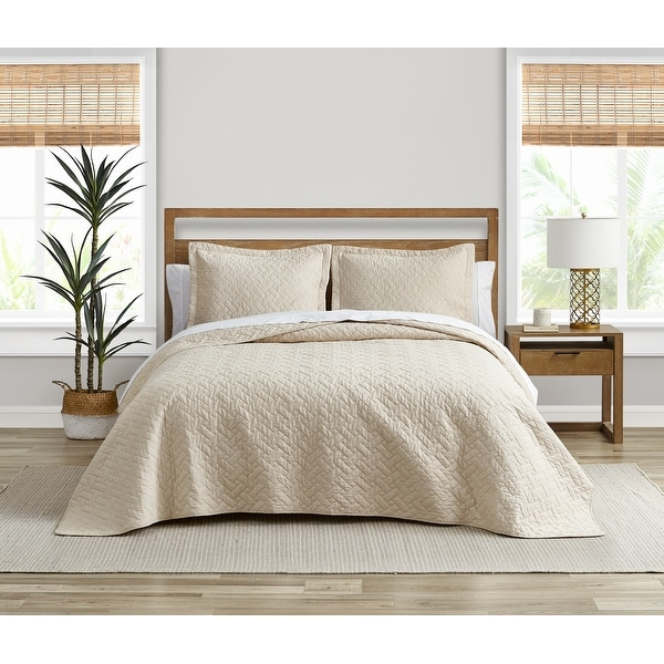 Tommy Bahama Solid Chevron Cotton Reversible Tan Quilt Set. Opens flyout.
