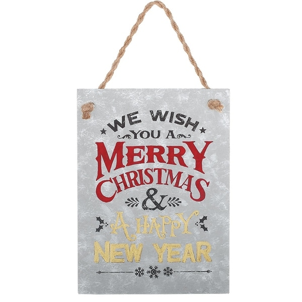 "7.5"" We Wish You a Merry Christmas Verse Metal Christmas Tree Ornament"