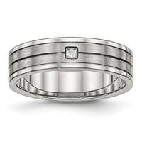 Stainless Steel Brushed and Polished Grooved CZ Ring (6 mm) - Sizes 6 - 13