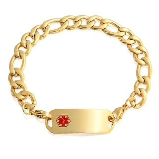 Bling Jewelry Medical Alert Red Enamel ID Tag Bracelet Gold Plated Steel