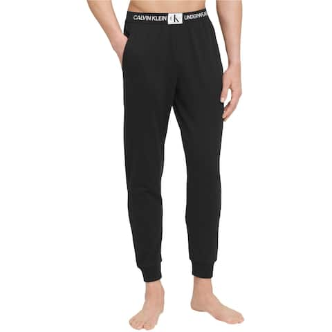 Calvin Klein Mens Monogram Logo Pajama Jogger Pants, black, Small