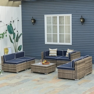 Link to Outsunny 7-Piece Outdoor Wicker Patio Sofa Set, Modern Rattan Conversation Furniture Set with Cushions & Table Similar Items in Outdoor Loveseat