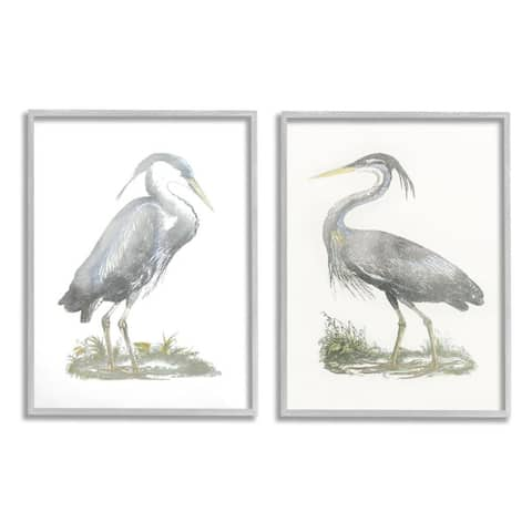 Stupell Industries Minimalist Vintage Cranes Marshland Birds Framed Wall Art