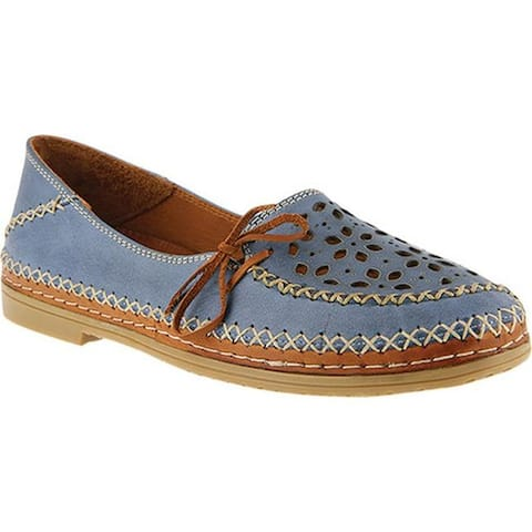 Spring Step Women's Sideway Slip On Blue Leather