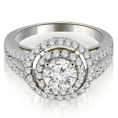 1.15 cttw. 14K White Gold Double Halo Round Cut Diamond Engagement Ring