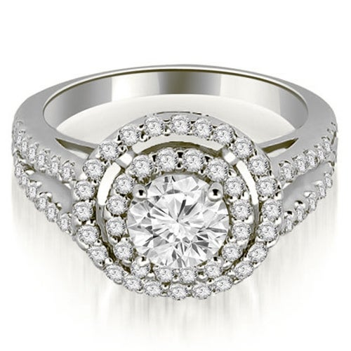 1.15 ct.tw 14K White Gold Double Halo Round Cut Diamond Split Shank Promise Engagement Ring HI SI1-2