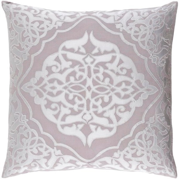 "18"" Lush Vinery Dove Gray and Silver Gray Square Throw Pillow"