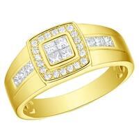 Prism Jewel 0.81Ct Round with Princess G-H/I1 Natural Diamond Men's Wedding Ring