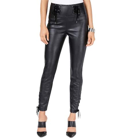 GUESS Womens Envy Coated Casual Trouser Pants, Black, 6